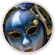 Blue Venetian Mask Round Beach Towel