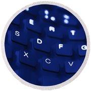 Blue Warped Keyboard Round Beach Towel