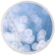 Blue Water And Sunshine Abstract Round Beach Towel by Elena Elisseeva
