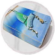 Blue Water Sailing Round Beach Towel
