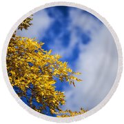 Blue White And Gold Round Beach Towel