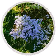 Blue Wild Flowers Round Beach Towel
