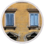 Blue Windows On A Yellow Wall In Milan Round Beach Towel