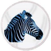 Blue Zebra Art Round Beach Towel by Rebecca Margraf