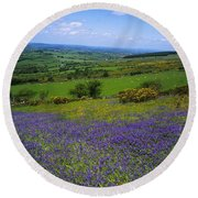 Bluebell Flowers On A Landscape, County Round Beach Towel
