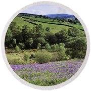 Bluebells In A Field, Sally Gap, County Round Beach Towel