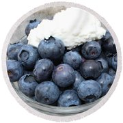 Blueberries And Cottage Cheese Round Beach Towel