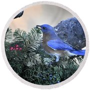 Bluebird Christmas Wreath Round Beach Towel