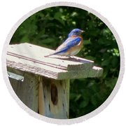Bluebirds Make Me Happy Round Beach Towel