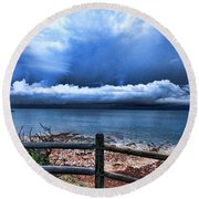 Bluer On The Other Side Round Beach Towel