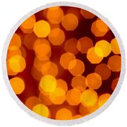 Blurred Christmas Lights Round Beach Towel by Carlos Caetano