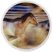 Blurred View Of Horses Running Through Round Beach Towel