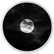 Blustery Blue Moon Round Beach Towel