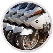 Bmw Police Motorcycles Round Beach Towel