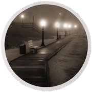 Boardwalk In The Fog Round Beach Towel