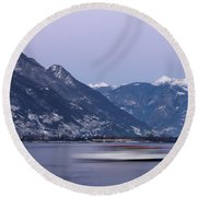 Boat And Alps Round Beach Towel