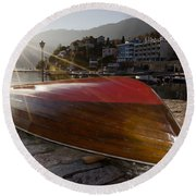 Boat And Sunlight Round Beach Towel