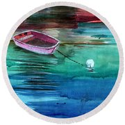 Boat And The Buoy Round Beach Towel