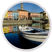 Boat And Village Round Beach Towel