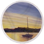 Boat At Rest Round Beach Towel