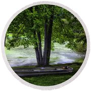 Boat By The Pond 2 Round Beach Towel