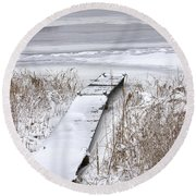 Boat Dock In Winter On A Lake No.0243 Round Beach Towel