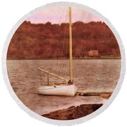 Boat Docked On The River Round Beach Towel