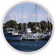 Boat Harbor In Dunkirk New York Round Beach Towel