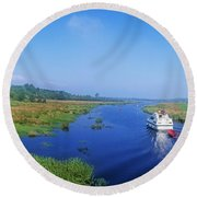 Boat In The River, Shannon-erne Round Beach Towel