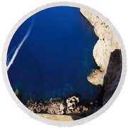 Boat In The Sea Round Beach Towel