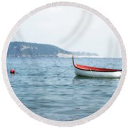 Boat In The Water Round Beach Towel