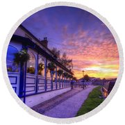 Boat Inn Sunrise 2.0 Round Beach Towel