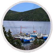 Boat Lineup Round Beach Towel