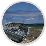 Boat Lying Shipwrecked On A Lake Michigan Shore Round Beach Towel
