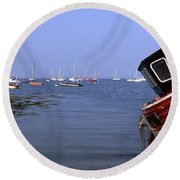 Boat Moored In The Sea, Strangford Round Beach Towel