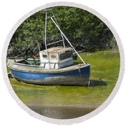Boat On Banks Of Dee Round Beach Towel