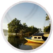 Boat On Sandy Beach Round Beach Towel