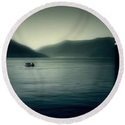 boat on the Lake Maggiore Round Beach Towel by Joana Kruse
