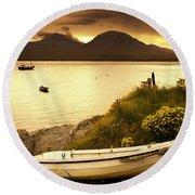 Boat On The Shore At Sunset, Island Of Round Beach Towel