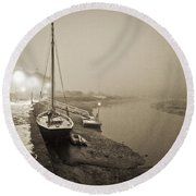 Boat On Wintry Quay Round Beach Towel