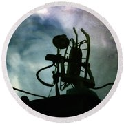Boat Reflections In Oily Sea Round Beach Towel