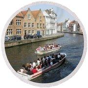 Boat Tours In Brugge Belgium Round Beach Towel