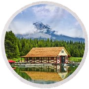 Boathouse On Mountain Lake Round Beach Towel