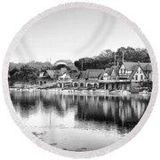 Boathouse Row In Black And White Round Beach Towel