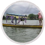 Boatman Taking A Couple Out On A Shikhara Round Beach Towel