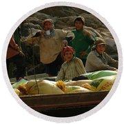 Boatmen In Laos Round Beach Towel