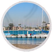 Boats And Blue Water Round Beach Towel