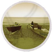 Boats At Beesands Round Beach Towel