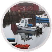 Boats At Rockport Harbor Round Beach Towel