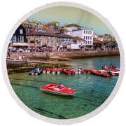 Boats At St Ives  Round Beach Towel